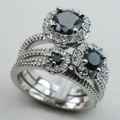 Black Onyx 925 Sterling Silver Engagement Wedding Three Ring
