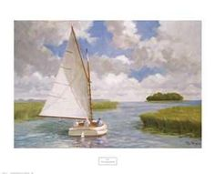 """""""Catboat through the Marsh"""" by Ray Ellis - Beach and Coastal Views posters and prints available at Barewalls.com"""