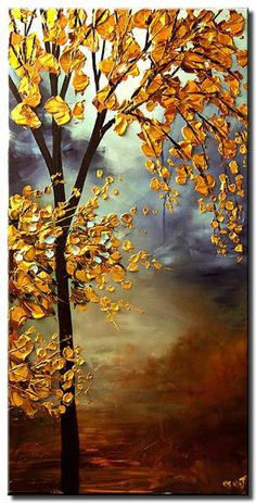 blooming golden tree pineado con - www. Abstract Tree Painting, Texture Painting On Canvas, Abstract Painting Techniques, Acrylic Painting Canvas, Abstract Canvas, 3d Art Painting, Modern Oil Painting, Knife Painting, Large Painting