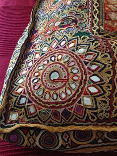 Beautiful detail from a bag. From wovensouls. Cushion Embroidery, Blackwork Embroidery, Hand Embroidery Flowers, Indian Embroidery, Hand Embroidery Stitches, Embroidery Designs, Nose Ring Jewelry, Kids Party Wear Dresses, Kutch Work Designs