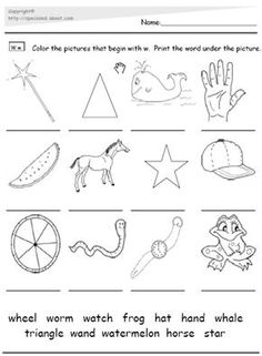 Alphabet Worksheets and Activities - The Letter W: The Letter W Picture and Word Match Worksheet PDF