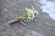 Wedding Flowers, White, ivory baby breath boutonniere wrapped in jute ribbon.