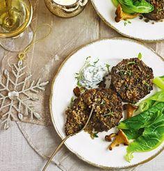 Wild mushrooms and bulgar-wheat cakes make a savoury and seasonal vegetarian first course or light lunch Bulgur Recipes, Veggie Recipes, Vegetarian Recipes, Healthy Recipes, Veggie Dinners, Vegetarian Dinners, Healthy Food, Healthy Eating, Wild Mushrooms
