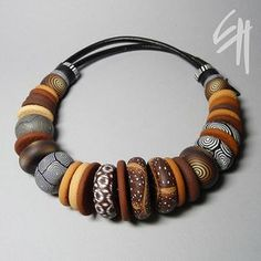 Nature Inspiration. Polymer clay necklace, by Eva Haskova | Flickr - Photo Sharing!