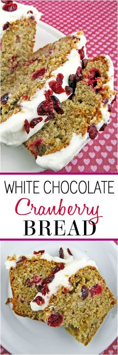 White Chocolate Cranberry Bread - A decadent bread speckled with cranberries and white chocolate topped with cream cheese frosting. Perfect for the holidays! Chocolate Topping, White Chocolate Chips, Christmas Bread, Christmas Desserts, Christmas Baking, Just Desserts, Dessert Recipes, Cranberry Bread, Low Fat Yogurt