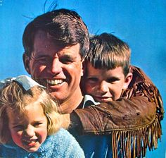 Bobby Kennedy with daughter Kerry and son Michael