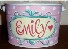 2 1/2 quart Easter Pail...hand painted and personalized  www.decorativepaintingbylynne.weebly.com