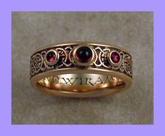 to century Celtic wedding band with bezel set cabochon garnet stones. - to century Celtic wedding band with bezel set cabochon garnet stones. Viking Jewelry, Ancient Jewelry, Antique Jewelry, Vintage Jewelry, Irish Jewelry, Celtic Wedding Bands, Diamond Wedding Bands, Irish Wedding Rings, Diamond Rings