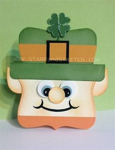 handmade St. Patrick's Day card ... shaped card ... punch art Leprechaun head ... luv the face!!