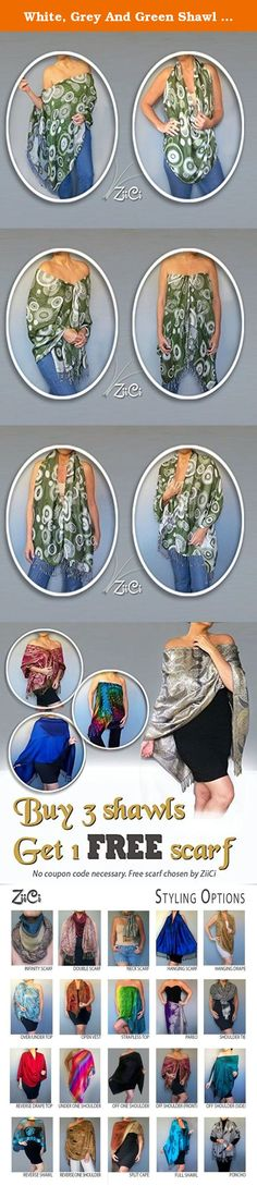 White, Grey And Green Shawl :: Off The Shoulder Top :: Olive Pashmina Scarf By ZiiCi. Whether your style is bohemian or businesswoman, this white, grey and green shawl is a great fashion accessory that's unlike any scarf or wrap around. With its unique elastic neckline, a ZiiCi shawl can easily be adjusted it to fit dozens of different ways: as a scarf, poncho, stole, shrug, pool cover up, pareo, halter top and more. Just pull the inner cord lock and in an instant you've got a whole new...