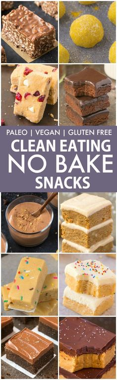 Clean Eating Healthy No Bake Snacks V GF P DF Quick easy and healthy no bake snacks which take minutes and are protein packed sugar free vegan gluten free paleo recipe Free Paleo Recipes, Gluten Free Desserts, Baking Recipes, Healthy Recipes, Baking Snacks, Healthy Gluten Free Snacks, No Bake Recipes, Healthy Slice, Baking Cookies