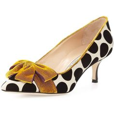 Manolo Blahnik Gorina Velvet Polka-Dot Pump ($825) ❤ liked on Polyvore featuring shoes, pumps, black, black velvet shoes, kitten heel pumps, black shoes, pointy toe pumps and black pointed toe pumps