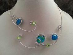Collier vert et turquoise  collier ouvert  par LesBijouxLibellule