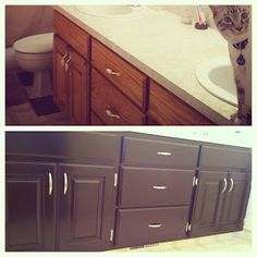 Keep Calm & Create: DIY Bathroom Vanity Staining