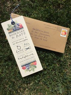 Bookmark save-the-date, by Katherine Wehde, Weeds & Whimsy -- vintage California garden wedding