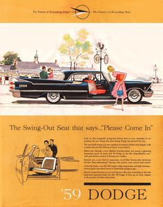 1958 Subject: 1959 Dodge Advertisement Illustrator: Researching Source: House Beautiful, October 1958 Note: Automobile design by Virgil Exner