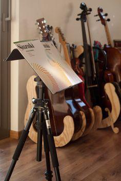 IKEA Brada music sheet stand, beautiful guitar stands in the background.