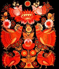Russian Love, Russian Folk Art, Russian Embroidery, Coloring Tutorial, Hand Painted Furniture, Paint Designs, Beautiful Paintings, Embroidery Patterns, Decoupage