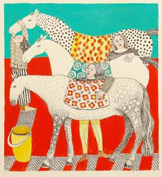 Three #horses by cate edwards, via Flickr. I love this #horse #art - so unique and #inspirational.