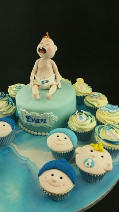 Baby cake and cupcakes