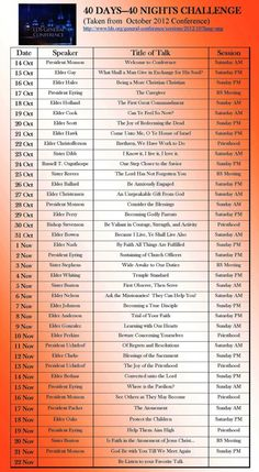 Schedule for reading and discussing October General Conference talks in 40 days...