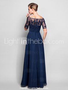 Homecoming Formal Evening/Military Ball Dress - Dark Navy Plus Sizes Sheath/Column Off-the-shoulder Floor-length Chiffon/Tulle 2015 – $90.24