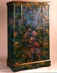 Pamela Silin Palmer Artist and Designer Floral Furniture, Funky Painted Furniture, Painted Chairs, Repurposed Furniture, Painted Wardrobe, Wood Artwork, Steampunk House, Chinoiserie, Wardrobes