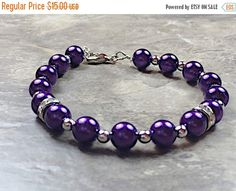 A personal favorite from my Etsy shop https://www.etsy.com/listing/254484411/mothers-day-purple-pearl-bracelet-dark