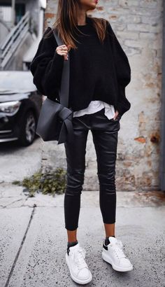 comfy outfit idea for this fall : sweater   bag   leather pants   white sneakers Sweater Outfits, Black Sweater Outfit, Black Cashmere Sweater, Lace Sweater, Cashmere Sweaters, Denim Fashion, Fashion Outfits, City Fashion, Fall Fashion