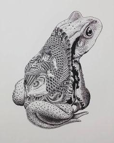 "artyou: "" Artist: Susumu Nakajima Title: Toad and Japanese tattoo """