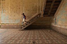 Encaustic cement floor in an abandoned farmhouse in São Tomé e Príncipe