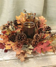 Another great find on #zulily! Oak Leaf Candleholder & Wreath by Melrose #zulilyfinds