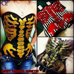 Rib cage skeleton vinyl satin made to order overbust corset. $450.00, via Etsy.
