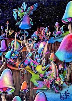Mushroom art via www.Facebook.com/DisneylandForMisfits