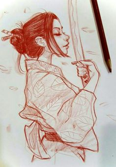 Profile character sketch by Mel Milton. Young Asian girl