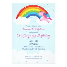 Find customizable Rainbow invitations & announcements of all sizes. Pick your favorite invitation design from our amazing selection. Picnic Birthday, Rainbow Birthday Party, Unicorn Birthday Parties, Birthday Ideas, Happy Birthday, Rainbow Invitations, Unicorn Birthday Invitations, Invitation Design, Custom Invitations