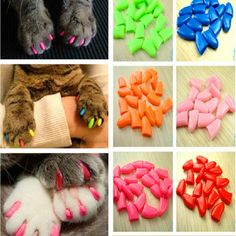 20Pcs Colorful Cat Nail Caps Soft Pet Dog Cats Kitten Paw Claws Control Nail Caps Cover Size XS S M L XL XXL With Adhesive Glue