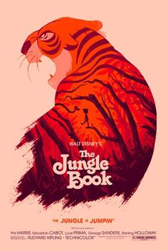 Great Movie Posters by Olly Moss: THE JUNGLE BOOK. Officially-licensed screen-printed poster for a Disney Art show at SXSW 2014. Client: Disney/Mondo -