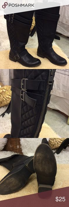 Madden girl knee high  quilted back zip boot Good condition madden girl knee-highs with straps & buckle detail,  Quilted detail  in back portion of boot , zips up back has a couple scrapes on both boots  on inside of toe  Shows no wear on bottom Worn once Length of boot is 10 1/2 inches width of boot 3 1/2 inches  Size 7 1/2 Calinda style PU upper sock fabric lining tpr out sole Madden Girl Shoes Heeled Boots
