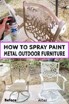 metal furniture Learn how to paint metal patio furniture and the best type of paint to use for an easy and cheap way to upgrade your outdoor decor. Painting Patio Furniture, Painted Outdoor Furniture, Metallic Painted Furniture, Patio Furniture Makeover, Metal Patio Furniture, Outside Furniture, Colorful Furniture, Furniture Ideas, Antique Furniture