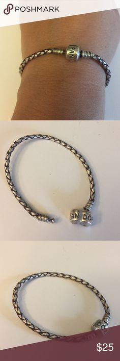 """Pandora bracelet Pandora silver rope bracelet. Used but in good shape... Some wear on the silver from the charms rubbing against.  6.5"""" long. Bundle it with the music note charm!!  Pandora Jewelry Bracelets"""