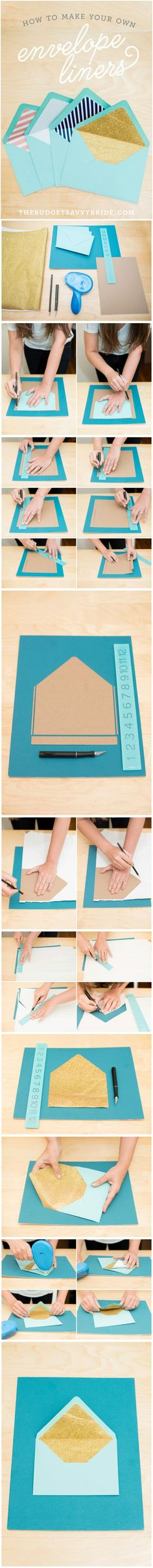 How to make your own colorful custom envelope liners! Step by step tutorial with photos! // photos by Mikkel Paige Photography