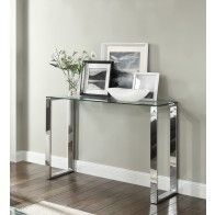 Signature Console Hallway Table Glass Top Chrome Stand 9350093000656 images ideas from Home Table Ideas Narrow Hallway Table, Hallway Table Decor, White Hallway, Entryway Decor, Skinny Console Table, Silver Console Table, Console Tables, Small Hallways, Foyer Decorating