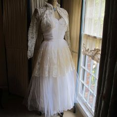 Ruched Tulle Bodice Wedding Gown with Lace Bolero by MsAstor, $275.00