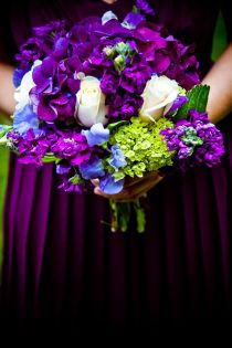Vibrant mix of purple, blue and apple green flowers in this bridal bouquet {Style Me Pretty}
