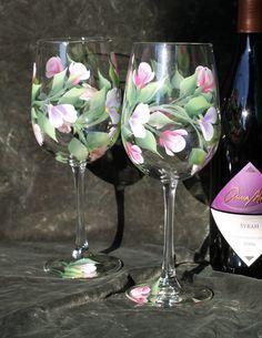 Hand Painted Wine Glasses Set of 2 Rose buds Decorated Wine Glasses, Hand Painted Wine Glasses, Wine Glass Crafts, Wine Bottle Crafts, Wine Bottles, Floral Vintage, Rose Buds, Ideas, Cobalt Blue