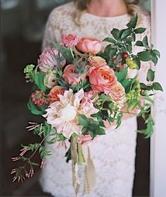 Jasmine, Dahlia, Garden Roses, Thistle and lush Greens -  Bridal Bouquet by Sarah Winward
