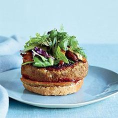 Veggie Burgers with Pomegranate Ketchup   MyRecipes.com  Eating vegan for a month led Richard Blais to examine his pantry more closely. He discovered that ground porcini mushrooms add a meaty flavor to dishes like his veggie burger.