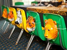 Des masques pour personnaliser les chaises du goûter d'anniversaire ! / Decorated chairs for a zoo themed party.
