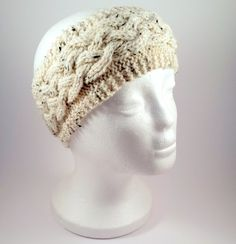 Cream Tweed Cabled Headband - Hand Knit Aran Wool Hairband With Cable  Design 65dd6c25af8c